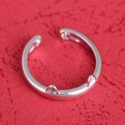Cat ear ring silver plated