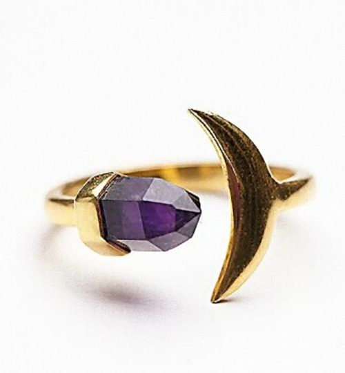 Amethyst moon ring